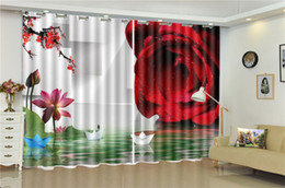 $enCountryForm.capitalKeyWord NZ - Printing Blackout 3D Window Curtain Delicate Rose Boat on the Water 3d Digital Printing HD Practical Beautiful Curtains