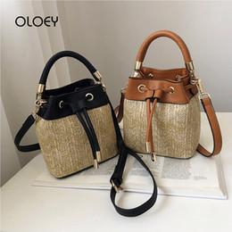 398351f5242a Woven Rattan Bag Australia - Drawstring Women's Straw Bucket Bag Summer  Woven Shoulder Bags Shopping Purse