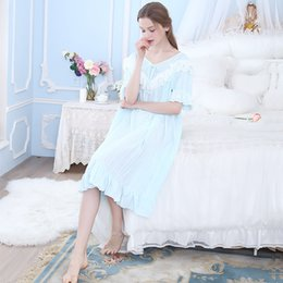 Long Nightdresses Cotton Australia - Summer one-piece nightdress cotton short-sleeved long section simple home clothes comfortable strip elegant and comfortable