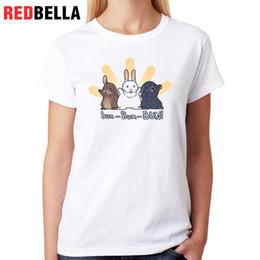 kawaii style clothing 2019 - Women's Tee Redbella Mulheres Clothes Kawaii Bunnies Pop Korean Style Funny Rabbits Cute Animals Hipster Tees Casua
