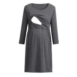 59ccdfdefd276 Nursing Dress Women Elegant Long Sleeve Autumn Breastfeeding Dress For  Feeding Maternity Pregnancy Clothes Plus Size 19Jan28