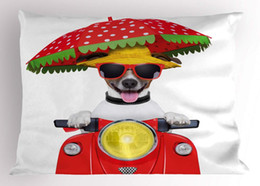 nonwoven hats Australia - Animal Pillow Sham Dog with a Hat and Sunglasses Driving Motorcycle Under an Umbrella Funny Holiday Image Decorative Standard Pillow Case