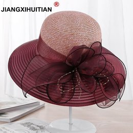 $enCountryForm.capitalKeyWord Australia - 2018 new Large Wide Brim Hats Organza Flower Sun Hats Ladies Kentucky Derby Wedding Party Dress Floppy Summer Hats for Women