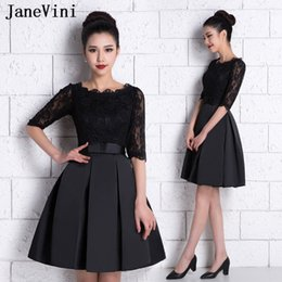 Vintage Inspired Cocktail Dresses Australia - JaneVini Vintage Black A Line Short Cocktail Dresses 2019 O Neck Lace Half Sleeves Satin Mini Evening Party Plus Size Cocktail Dresses