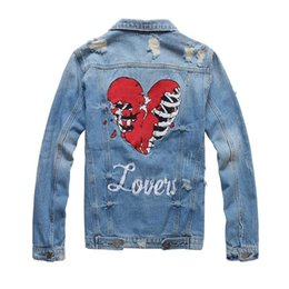 distressed denim jackets UK - Fashion Designer Slim Fit Mens Ripped Denim Jackets Heart Embroidery Streetwear Distressed Motorcycle Biker Jeans Jacket PN410