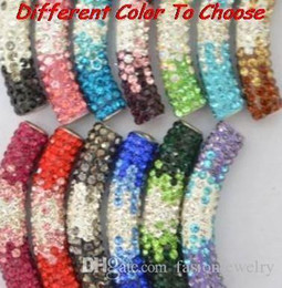 tube bending bracelet Canada - ld342 20 pcs lot 45cm mixed multicolor Rhinestone Micro Pave CZ Crystal gradual change crystal tube Long tubes bending beads Bracelets