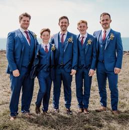 Beige Slim Suits For Men Australia - 2019 Groomsman Tuxedos Peaked Lapel Two Button wedding suits for men Custom made Slim Fit Three Pieces (Jacket+Pants+Vest+Tie)
