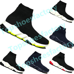 Wholesale couples socks online – funny 2019 Kid sock Luxury Designer Speed Trainer Boots Socks Stretch Knit Trainer Shoes Black White Sneaker Couples kids shoe Casual Eur