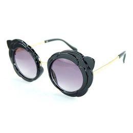 White Pink Mix Rose Flower Australia - Good Quality New Lovely Girls Sunglasses Rose Flower Round Frame And Colorful Lenses Child Sun Glasses