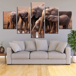 elephant picture home decor 2020 - 5 Piece Canvas Painting Sunset Elephant Drinking Water Picture Wall Art Prints Modular Cuadros Poster Home Decor discoun