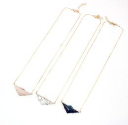 $enCountryForm.capitalKeyWord Australia - New Triangle Rose Pink Quartz Lapis Lazuli Natural Stone Pendant Gold Chain Necklaces Geometric Accessories Jewelry