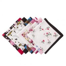 Scarf Square Cotton Australia - Vintage Floral Printed Cotton Hankies Rose Flower Hankerchief Scarves High Quality Pocket Square Adult Gift Accessory PPA184