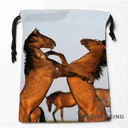 Black Swimming Toys Australia - Custom Horse Animal Drawstring Bags Printing Fashion Travel Storage Mini Pouch Swim Hiking Toy Bag Size 18x22cm #171203@1-04 #34098
