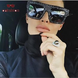 54f2baccff wholesale Arrival Women Fashion Vintage Square Oversized Frame Sunglasses  Crystal Diamond Rhinestone Bling Sunglass Color Lens Shades