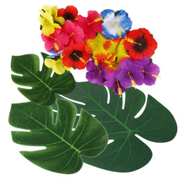 $enCountryForm.capitalKeyWord Australia - 72 Pcs Palm Leaves with Hibiscus Flowers for Hawaiian Party Jungle Beach Theme Decorations Turtle Leaf Green Wedding