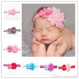 Crystal Heads Australia - Beautiful Crystal Pearl Headbands Children hair Accessories Baby Flower Hair Bands Elastic Head Bands