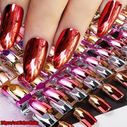 $enCountryForm.capitalKeyWord Australia - Mirror Silver False Nails Point Metallic Acrylic Nail Tips 24pcs kit Easy For Daily Wear Artificial Nail Art Tips Extension