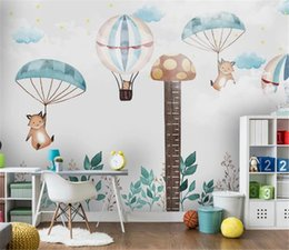 hot air balloon wall stickers UK - 2019 3d Wallpaper Nordic children's room height sticker hot air balloon bedroom cartoon background wall decoration wall paper