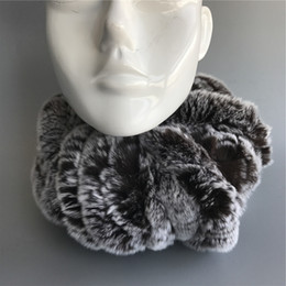 Womens Winter Fur Scarves Australia - Womens Grey Real Rex Rabbit Fur soft Scarves Winter w flower Warm Scarf Neck Warmer
