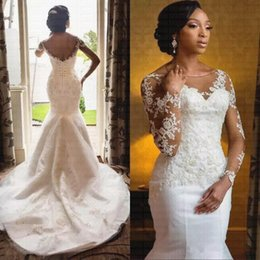 $enCountryForm.capitalKeyWord Australia - African Wedding Dresses from China Sheer Neck Long Sleeve Beaded Lace Applique 2019 Bridal Gowns Sweep Train Custom Made DHgate