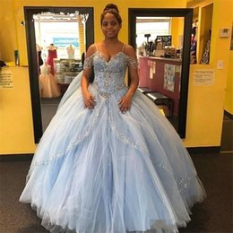 spaghetti straps quinceanera dresses 2019 - Light Sky Blue Quinceanera Dresses Beads Crystals Spaghetti Strap Junior Sweet 16 Birthday Dress Long Prom Party Gowns P