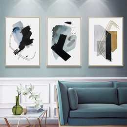 paintings for Australia - Modern Abstract Black Ink Canvas Painting Office Wall Art Decorative Pictures Poster Prints for Living Room Interior Home Decor