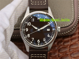 Pilot Watch Dial Australia - New Grande Pilot Montre d'Aviateur 40mm IW327002 IW327001 coffee Dial Miyota 8215 Automatic Mark 18 Mens Watch Leather Strap Sapphire Gents