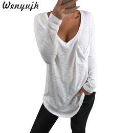 Venta al por mayor 2019 Moda Solid Loose Sport Tops manga larga camiseta mujer con cuello en V camiseta Spring Autumn Daily Causal básico en venta