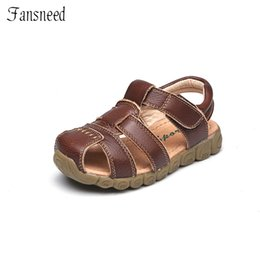 boys brown sandals Australia - Children Shoes Summer Sandals Genuine Leather Quality Boys And Girls Beach Sandals Cowhide Causal Kids Shoes MX190726
