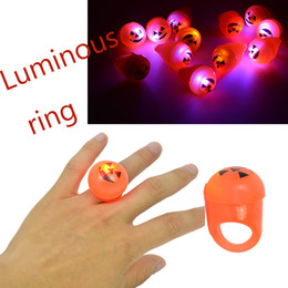 Wholesale Lighting Toys Australia - Led Halloween Toys 1pcs Light Up Glowing Pumpkin Light Up Flashing Finger Rings Party Kids Halloween Plastic Orange Toy