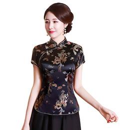 Venta al por mayor de La historia de Shanghai, cheongsam chino, top de las mujeres chinas tradicionales, imitación de seda / satén, top de dragón y blusa fénix china, camisa china Qipao