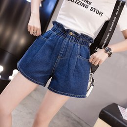 9aa5b2cac0f 5xl plus big size denim jeans shorts women summer style 2019 feminina high  waist thin elastic waist denim shorts female F0501