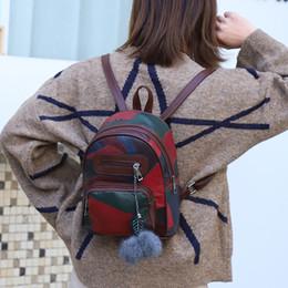 $enCountryForm.capitalKeyWord Australia - Women's small bag fashion backpack stitching pattern hanging hair ball decoration wild backpack leisure travel bag Zaino#30