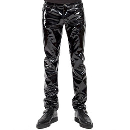90dfc63cf7fb1f Mens Lingerie Wetlook Slim Fit Shiny Patent Pvc Leather Latex Nightclub  Party Tight Pants Leggings Trousers With Open Penis Hole Y190509