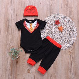 Woolen hat for girls online shopping - latest design baby boy summer romper Kids baby necktie glasses pattern formal party evening wear clothing with hat for Outfits