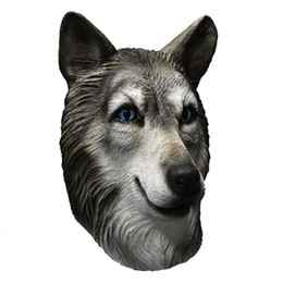 Wholesale adult dog fancy dress for sale – halloween Halloween Animal Latex Full face Head Mask Wolf Dog Costumes Props Party Fancy Dress Husky Dog for men