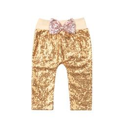 $enCountryForm.capitalKeyWord UK - Casual Baby Girl Bowknot Bottoms Sequins Gold Yellow Long Pants Leggings Fahion Cute Trousers 0-24M