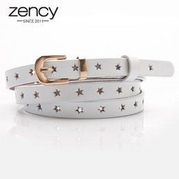 Discount black sweater white stars Zency 100% Genuine Leather Women Waist Belts Five-pointed Star Hollow-out Wild Sweater Skirt Pants Decorative Belt Small