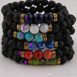 Best Gifts Supply Australia - 3 Beads Men's Beaded Energy Lava Stone, Antique Gold spacer bracelet, Best price, JEWELRY SUPPLIES Gift