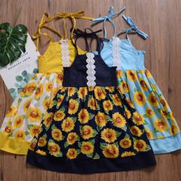 Ins Baby Girls Vestidos Flor Girassol Impresso Crianças Princesa Vestido de Verão Boutique Novo 2019 3 Cores venda por atacado