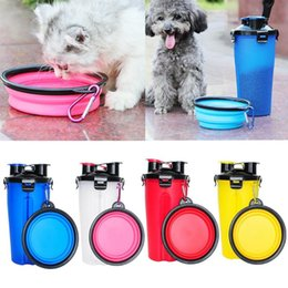 dog water feeder bottle Australia - 2 in 1 ABS Folding Dogs Cats Feeding Feeder Water Food Bottle Outdoor Travel Pet Bowls For Pet Dog Cat Puppy Bowl Water