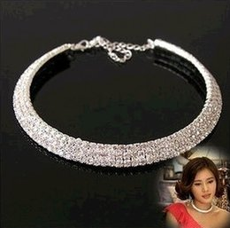 cheap bridesmaids accessories NZ - Free Ship Elegant Silver Plated Rhinestone Bride Necklace Jewelry Cheap Accessories for Bridesmaid Prom Evening Wedding Party Guest In Stock
