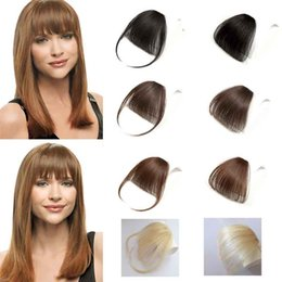 Clip Hair Bangs Fringes Australia - 100% Human Hair Clip In Bangs Without Temples Light Brown Neat Hair Fringe Invisible Bangs For Women