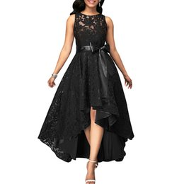 $enCountryForm.capitalKeyWord UK - Sexy Plus Size Party Dress New Women Lace Maxi Dress Sleeveless High Low Belted Irregular Swing Long Dress Burgundy Blue Black