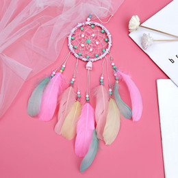 feathers home decor Australia - Colorful Feather Handmade Dream Catcher Car Home Wall Hanging Decoration Ornament Gift Wind Chime Craft Decor New
