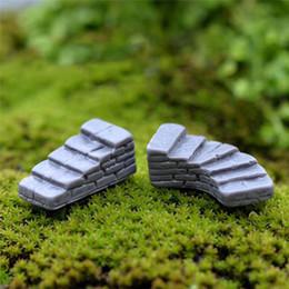 Garden Stones Landscape Australia - 1 Pcs Cute Miniature Craft Gray Stone Steps Stair Micro Landscapes Mini Fairy Garden Moss Ecological Bottle DIY Ornaments