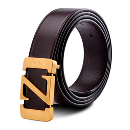 Z Buckle Leather Belt UK - Brand Buckle Belt For Men Genuine Leather Solid Brass automatic Belts Buckle Letter Z Male Fashion Accessories