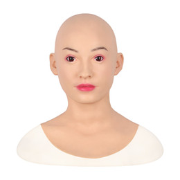 Discount realistic human masks Artificial Human Skin Face Realistic Silicone breast forms Crossdresser Transgender Disfigurement Repair Silicone Halloween Mask Face