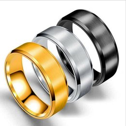 Engagement Platinum Men Ring UK - Stainless Steel Blank Ring Gold Black Matt Art Ring Band Rings Women Men Fashion Jewelry Will and Sandy Drop Ship