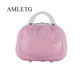 Gold Boxing Trunks Australia - Hot Fashion ABS Waterproof Suitcase Cosmetic Case Hello Kitty Design Travel Suitcase Can Be Set Trolley Case make up box vs #222006